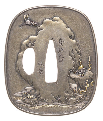 A pale shibuichi tsuba Attributed to Morikawa Masakage (died c.1875), Tanaka School, 19th century