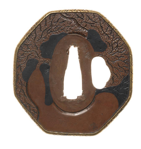 A copper tsuba Umetada School, 18th century