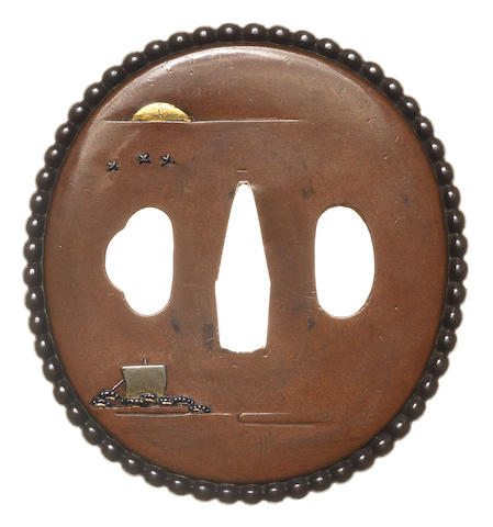 A sentoku and copper tsuba Nara School, late 18th/early 19th century