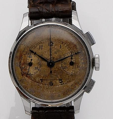 Paul Buhre. A stainless steel manual wind chronograph wristwatch1950's