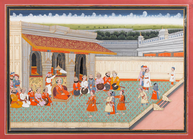A prince receiving courtiers Jaipur, 19th C