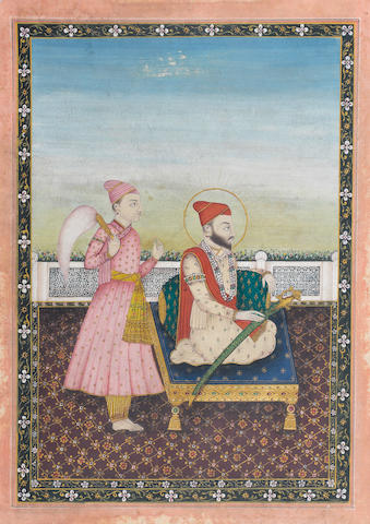 A Sikh prince seated against a bolster on a terrace, an attendant with a morchal behind him Punjab Plains, circa 1850-60