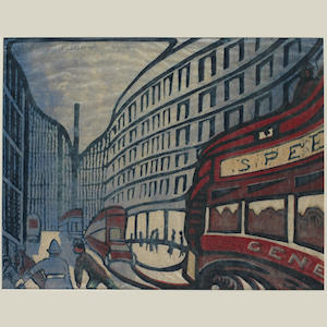 Claude Flight (British, 1881-1955) Speed Linocut, 1922, printed in cobalt blue, yellow ochre, vermilion and Prussian blue, on buff oriental laid paper, signed and numbered 43/50 in pencil,