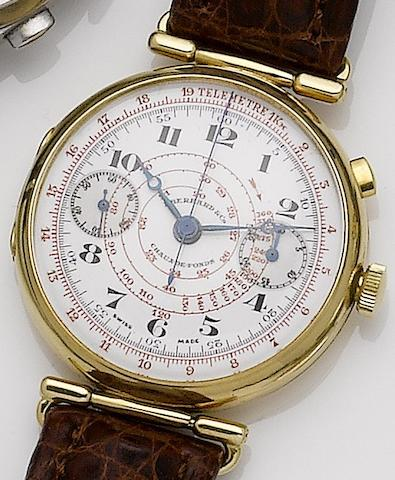 Eberhard & Co. An 18ct gold manual wind single button chronograph wristwatchCase No.194656, 1920's