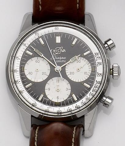 Enicar. A stainless steel manual wind chronograph wristwatchSherpa Graph, 1960's