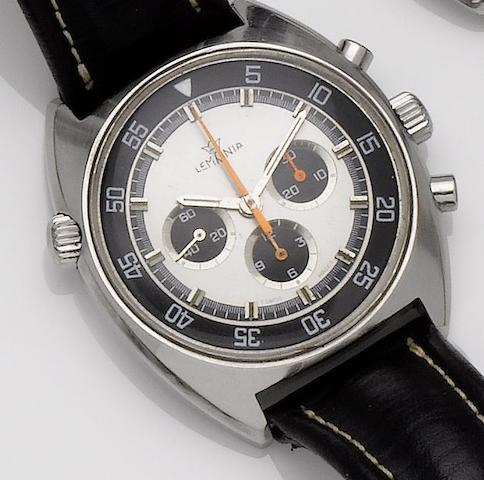 Lemania. A stainless steel manual wind chronograph wristwatch Case No.9658, Movement No.3147473, 1970's??