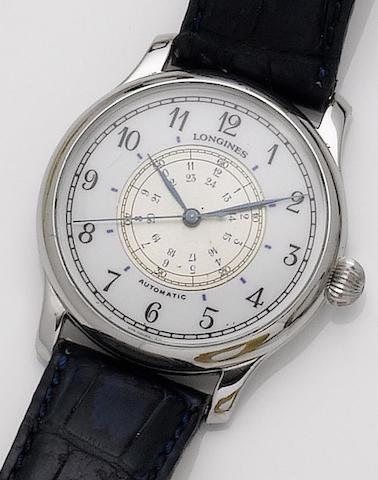 Longines. A stainless steel automatic wristwatchHour Angle, designed by Charles Lindbergh, 1990's