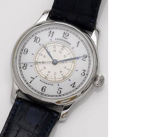 Longines. A stainless steel automatic wristwatch Hour Angle, designed by Charles Lindbergh, 1990's