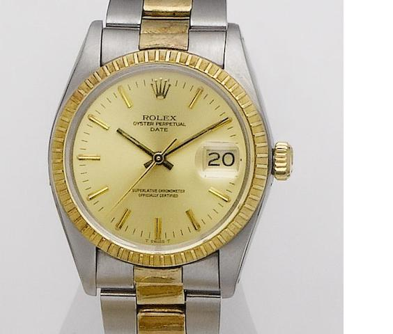 Rolex. A steel and gold calendar automatic bracelet watch Datejust 1505, Serial No. 6416781, 1980's