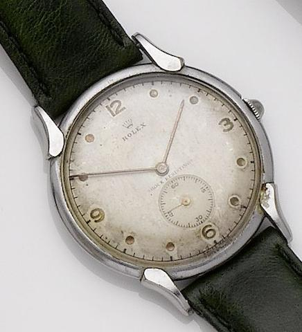 Rolex. A stainless steel manual wind wristwatch1950's