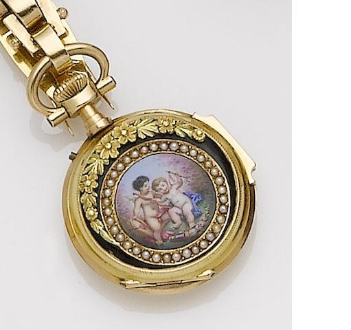 Swiss. A very fine continental gold, enamel and seed pearl set pocket watch on a matching lapel pin Circa 1870