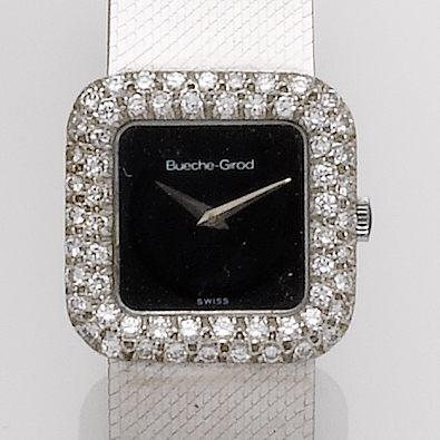 Beuche Girod.  A lady's 18ct white gold and diamond set wristwatch1980's