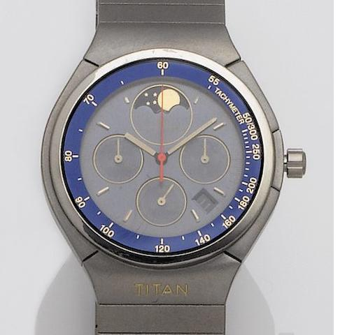 IWC. A titanium quartz moonphase chronograph wristwatch Porsche Design, Titan. 1990's