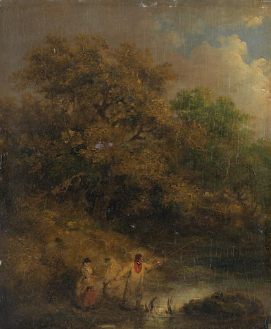 George Morland (London 1763-1804) Elegant figures angling at a woodland pond