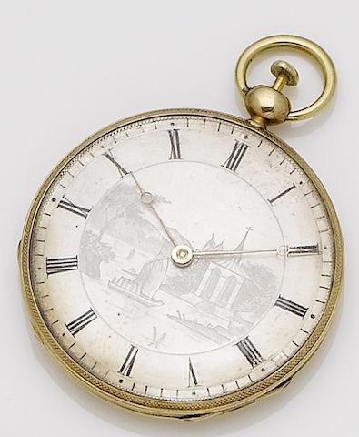 Liodeta. A continental gold quarter repeating open face key wound pocket watchNo.1253, Circa 1820