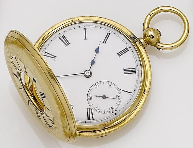 A late 19th century 18ct gold half hunter pocket watchLondon 1876