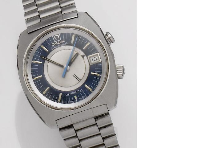 Omega. A stainless steel automatic calendar bracelet alarm watch Seamaster Memomatic, Case No.166072, Movement No.33324359, 1970's
