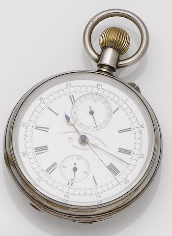 A late 19th century silver cased open face chronograph calendar pocket watch'Chrono Micrometer', Birmingham hallmark for 1891