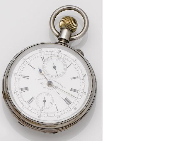 A late 19th century silver cased open face chronograph calendar pocket watch 'Chrono Micrometer', Birmingham hallmark for 1891