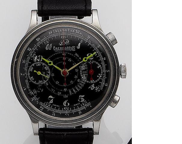 Eberhard. A stainless steel manual wind chronograph wristwatch Circa 1950