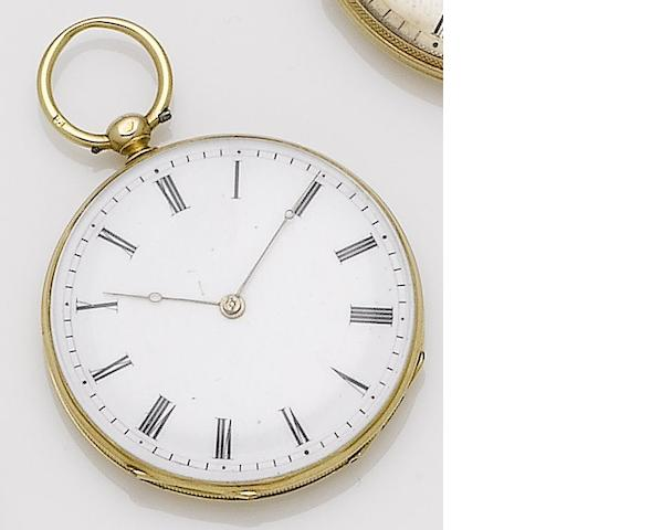 An early 19th century continental gold open faced key wound pocket watch