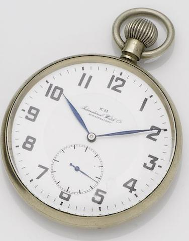 IWC. A stainless steel manual wind open face military pocket watch made for the Kriegsmarine Case No.1080358, Movement No.1031456,  1940's