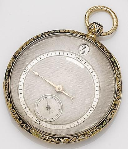 Swiss. A continental gold key wound jump hour open face cylinder pocket watchCirca 1820