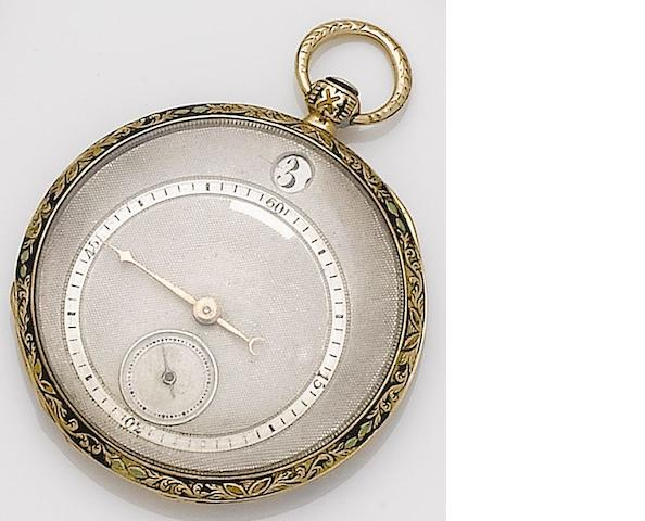 Swiss. A continental gold key wound jump hour open faced cylinder pocket watch Circa 1820