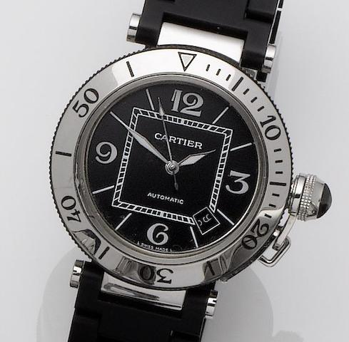 Cartier. A stainless steel automatic calendar bracelet watch Pascha seatimer, Recent