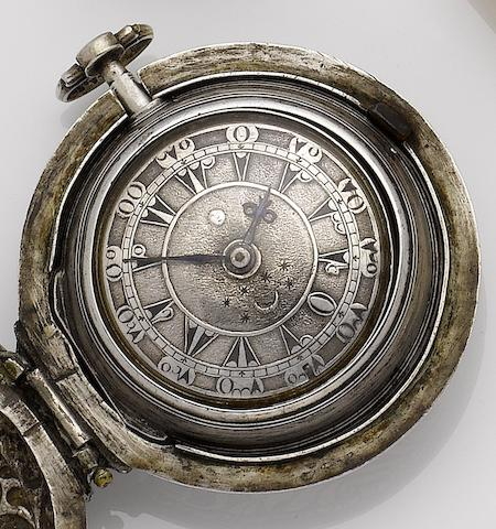 Tomaso Backman, Venice. A silver triple case verge pocket watch made for the Turkish market