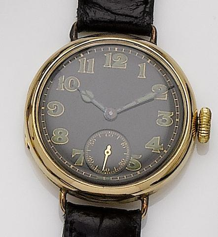 Longines. An 18ct gold manual wind wristwatch with wire lugs made for the English marketLondon hallmark for 1918