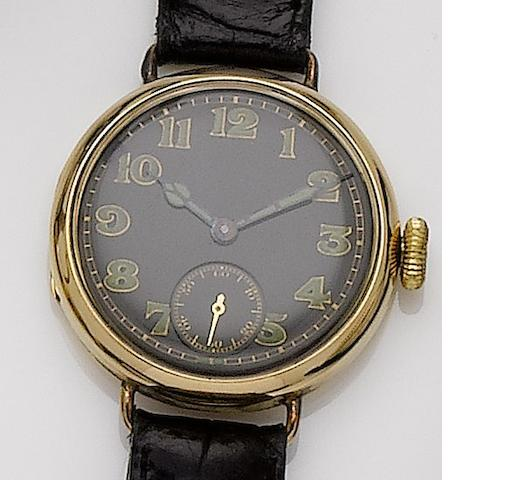 Longines. An 18ct gold manual wind wristwatch with wire lugs made for the English market London hallmark for 1918