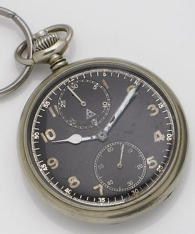 Unsigned. A stainless steel open face manual wind military issue chronograph pocket watch 1940's