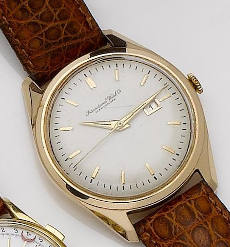 IWC. An 18ct rose gold automatic centre seconds calendar wristwatch1950's