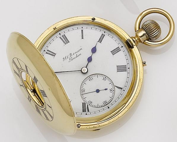 Benson. An 18ct gold manual wind half hunter pocket watch London hallmark for 1900