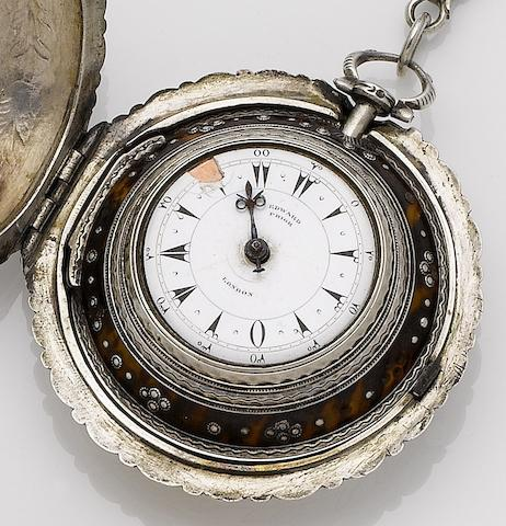 Edward Prior. A quadruple case tortoiseshell and silver open face pocket watch made for the Turkish Market London hallmark for 1842