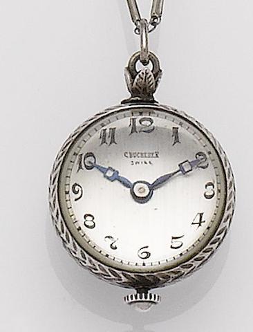 Bucherer. A white metal manual wind bullseye possibly silver manual wind  bullseye pendant pocket watch 1930's