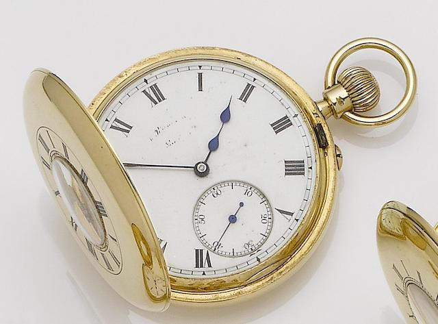 Manoah Rhodes & Sons. An 18ct gold keyless wind half hunter pocket watch No.39510, London Hallmark for 1915
