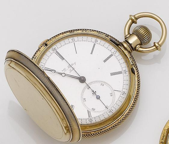 P.Mathey Locle. A continental gold full hunter manual wind chronograph pocket watchCase and movement numbered 2645
