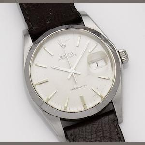 Rolex. A stainless steel manual wind calendar wristwatch Oysterdate, Ref: 6694, Serial No. 5400077, 1970's