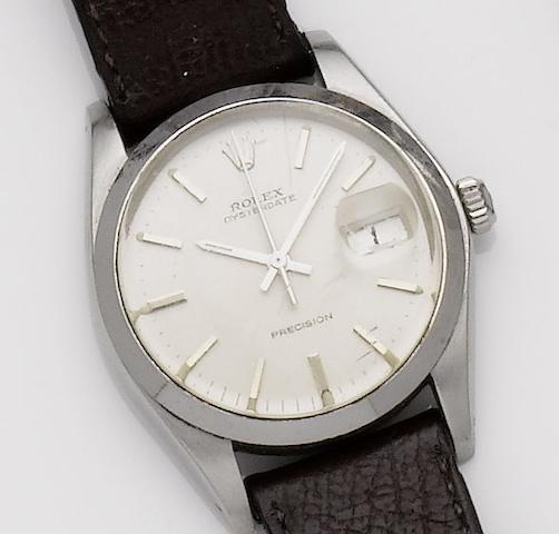 Rolex. A stainless steel manual wind calendar wristwatch Oysterdate, Ref: 6694, Serial No. 5400077, 1970's