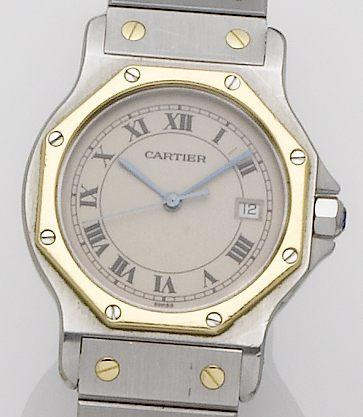 Cartier. A steel and gold quartz centre seconds bracelet watch Santos, Case No.187902, Sold 4th January 1990