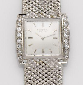 Universal. An 18ct wite gold and diamond set manual wind bracelet watch date???
