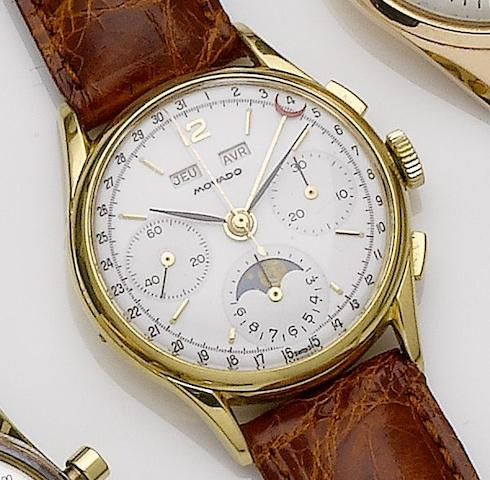 Movado. A gold triple calendar moonphase wristwatchCase No.344144, Circa 1950's