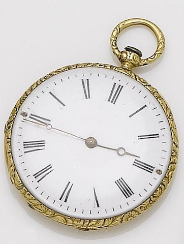 Vacheron. An early 19th century gold engraved open face pocket watch