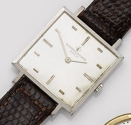 Vacheron & Constanton. An 18ct white gold square cased manual wind wristwatch Case No.405780/6919, Movement No.577358, 1960's