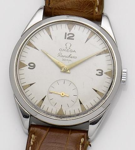 Omega. A stainless steel manual wind wristwatchRoadster, 1950's
