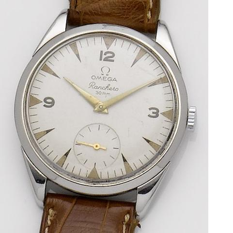 Omega. A stainless steel manual wind wristwatch Roadster, 1950's
