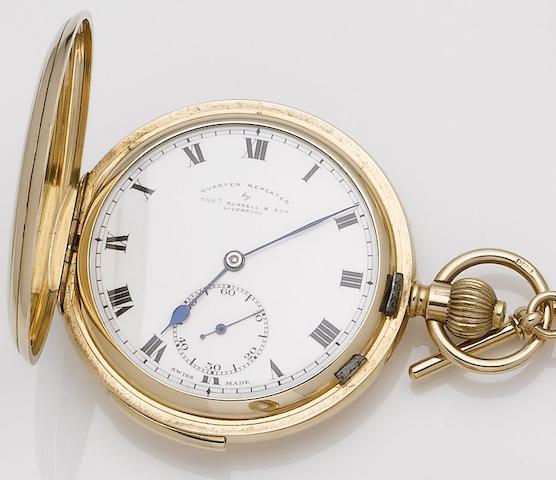 Thomas Russell & Son. An early 20th century 9ct gold full hunter quarter repeating pocket watch Chester hallmark for 1922