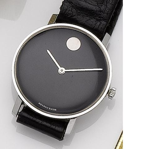 Movado. A stainless steel manual wind wristwatch1980's??